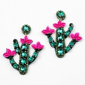 Jewelry - GREEN & PINK BEADED CRYSTAL CACTUS FLOWER EARRINGS